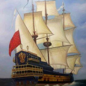نقاشی رنگ روغن رئال کشتی