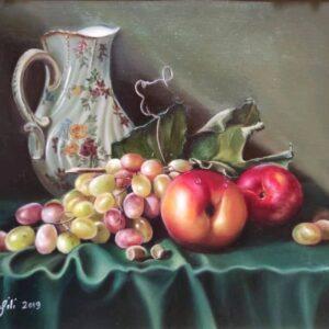 نقاشی رنگ روغن میوه رئال
