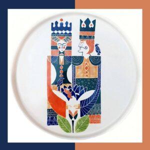 بشقاب دستساز شاه و ملکه