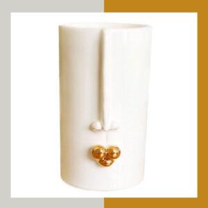 گلدان دستساز با لاستر طلا